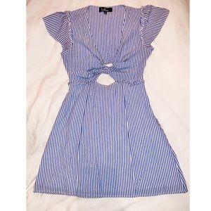 LULU'S LIGHT BLUE & WHITE STRIPED TIE-FRONT DRESS